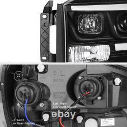06-08 Dodge Ram 1500 Pickup Truck Black LED DRL Tube Projector Headlight Lamp