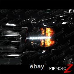 07-13 Chevy Silverado 1500 2500HD 3500HD Headlight LED DRL Strip Black Housing