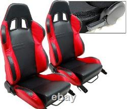 1 Pair Black & Red Racing Seats For Ford Mustang Cobra NEW
