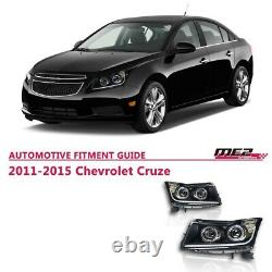 11-15 For Chevrolet Cruze Projector Headlights Lamp LED DRL Tube Strip Bar Pair