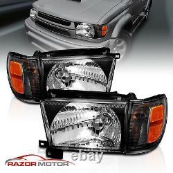 1996-1998 Black Glass Headlight + Corner Light Pair For Toyota 4Runner with Bulb