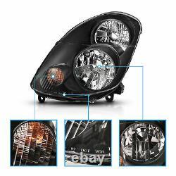 2003 2004 Black Driver And Passenger Headlights Pair For Infiniti G35 4dr Sedan