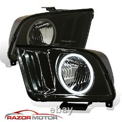 2005-2009 Black Smoke (LED Halo) Headlights Pair For Ford Mustang V6, V8 with Bulb