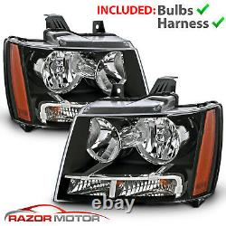 2007-14 Replacement Black Headlight Pair for Chevy Avalanche Subarban Tahoe