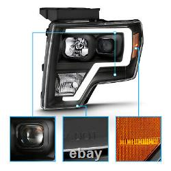 2009-14 Black Headlights pair For Ford F150 LED Bar Driver And Passenger