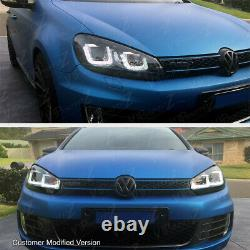 2010-2014 Volkswagen MK6 GTI GOLF Sportwagon OLED Neon Tube Red Headlights Pair