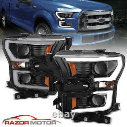 2015-17 Black Euro LED Bar Dual Projector Headlights Pair For Ford F150 F-150