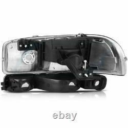 4pcs Black Fits 99-06 GMC Sierra Yukon Headlights+Bumper Headlamps Assembly Pair