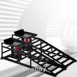 5T/11000lb Hydraulic Car Ramps Hydraulic Vertical Ramps Low Profile 1-Pair Black