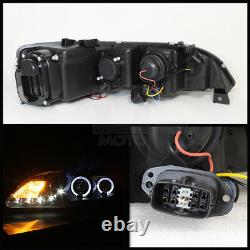 Black 2003-2006 Mazda 6 Mazda6 LED Halo DRL Projector Headlights Headlamps Pair