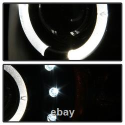 Blk 1994-2001 Dodge Ram 1500 94-02 2500 3500 LED Halo Projector Headlights Pair