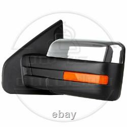 Chrome For 2004-14 Ford F-150 Power Heated Side Tow Mirrors Pair Set