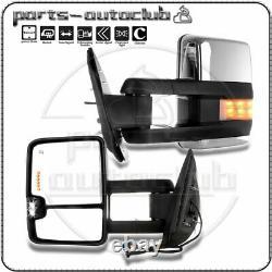 Chrome Mirrors For Silverado Sierra 1500 2500 3500 Power Heated LED Signal Pair