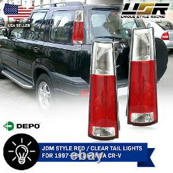 DEPO JDM Style Pair of Red / Clear Tail Light For 1997-2001 Honda CRV CR-V