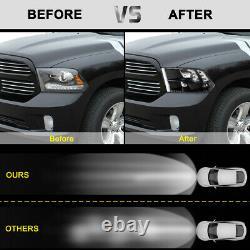 Fit For 2009-2018 Dodge Ram 1500/2500/3500 Black Quad Lamps Headlights Pair