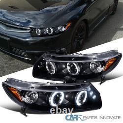 Fit Honda 06-11 Civic 2Dr Black LED Halo Projector Headlights Head Lamps Pair