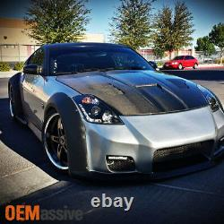 Fits 03-05 350Z Fairlady Z33 Black DRL LED Strip Projector Headlights Lamps Pair
