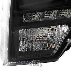 Fits 2009-2014 Ford F150 Black Projector Headlights Lamps LED Strip Pair 09-14