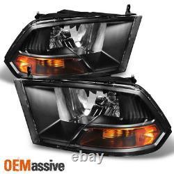 Fits Black 2009-2018 Dodge Ram 1500/2500/3500 Headlights Lamps Light LH+RH Pair