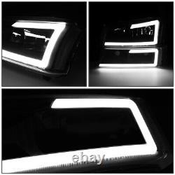 For 03-07 Chevy Silverado Avalanche Pair Led Drl Headlight Bumper Lamp Black
