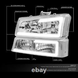 For 03-07 Chevy Silverado Avalanche Pair Led Drl Headlight Bumper Lamp Chrome