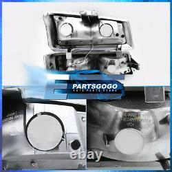 For 03-07 Silverado LED DRL Chrome Housing Clear Headlights + Bumper Lamps Pair