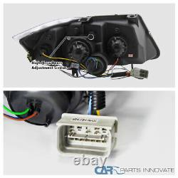 For 06-08 BMW E90 3-Series 325i 330i 4Dr Black LED Halo Projector Headlight Pair