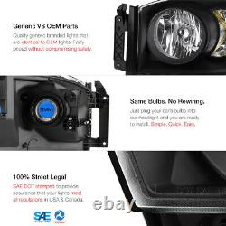 For 06-08 Dodge Ram 1500 / 06-09 Ram 2500 SRT-10 STYLE Black Crystal Headlight
