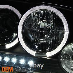 For 06-10 Dodge Charger Black Bezel Dual Halo LED Projector Headlights Lamp Pair
