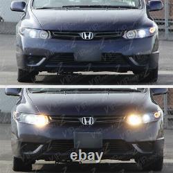 For 06-11 Honda Civic 2D Coupe FG Black LED Halo Angel Eye Projector Headlight