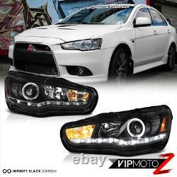 For 08-17 Lancer Evolution EVO GSR MR Black LED Strip Halo Projector Headlight