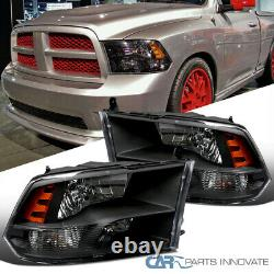 For 09-18 Dodge Ram 1500 2500 3500 Quad Style Black Headlights Signal Lamps Pair