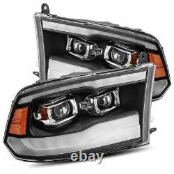 For 09-18 Ram AlphaRex Pro Series Black LED Sequential Projector Headlights Pair