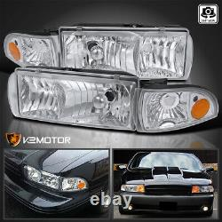 For 1991-1996 Chevy Caprice 94-96 Impala Clear Headlights+Corner Lamps L+R Pair
