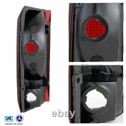 For 1992-96 Ford F150 F250 F350 Bronco Black Headlights+Dark Red Tail Lamps Pair