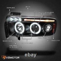 For 1994-2001 Dodge Ram 1500 2500 3500 LED Halo Projector Headlights Black Pair