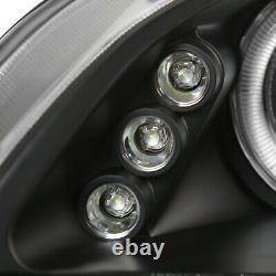 For 1998-2002 Honda Accord LED Halo Black Projector Headlights Head Lamps Pair