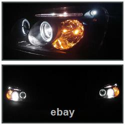 For 2001-2003 Honda Civic 2/4Dr Black LED Dual Halo Projector Headlights Pair