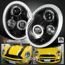 For 2002-2006 Mini Cooper S Replacement LED Halo Projector Headlights Black Pair