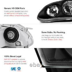 For 2003 2004 2005 2006 2007 2008 Corolla JDM Black Crystal Clear Headlight Lamp