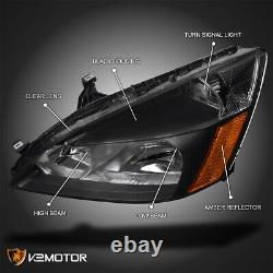 For 2003-2007 Honda Accord 2/4Dr Black Headlights Lamps Left+Right Pair 03 04 05
