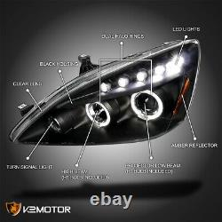 For 2003-2007 Honda Accord LED Strip Halo Projector Headlights Black Lamps Pair