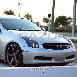 For 2003-2007 Projector Black Headlights Pair LED Halo for Infiniti G35 Coupe