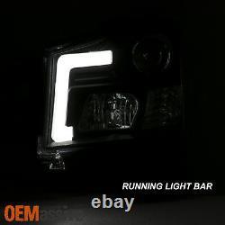For 2004-2015 Titan 04-07 Armada C-Tube LED Projector Black Headlights L+R Pair