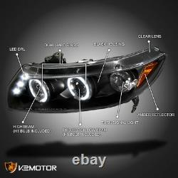 For 2006-2011 Honda Civic 2Dr Coupe LED Halo Black Projector Headlights Pair