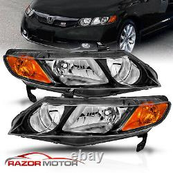 For 2006-2011 Honda Civic 4 Door Sedan Black Factory Style Headlights Pair