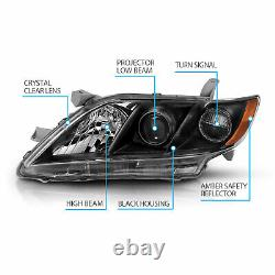 For 2007-2009 Toyota Camry Black Factory Style Projector Headlights Pair