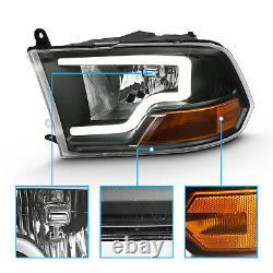 For 2009-2018 Dodge Ram 1500 2500 3500 Black LED Bar Plank style Headlights pair