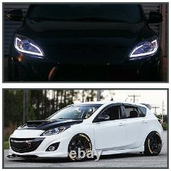 For 2010-2013 Mazda 3 Black LED Strip Projector Headlights Lamps Pair Left+Right