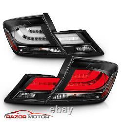 For 2013 2014 2015 Honda Civic 4DR 4 Door Sedan Black/Clear LED Tail Lights Pair